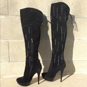 Black rhinestoned Platform OTK High Heel Boots